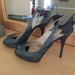 JIMMY CHOO Clue Glitter Anthracite Pumps 39.5